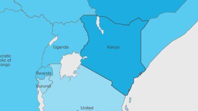 Eingefärbte Landkarte von Ostafrika welche zeigt, dass Kenia stark von Corona betroffen ist.