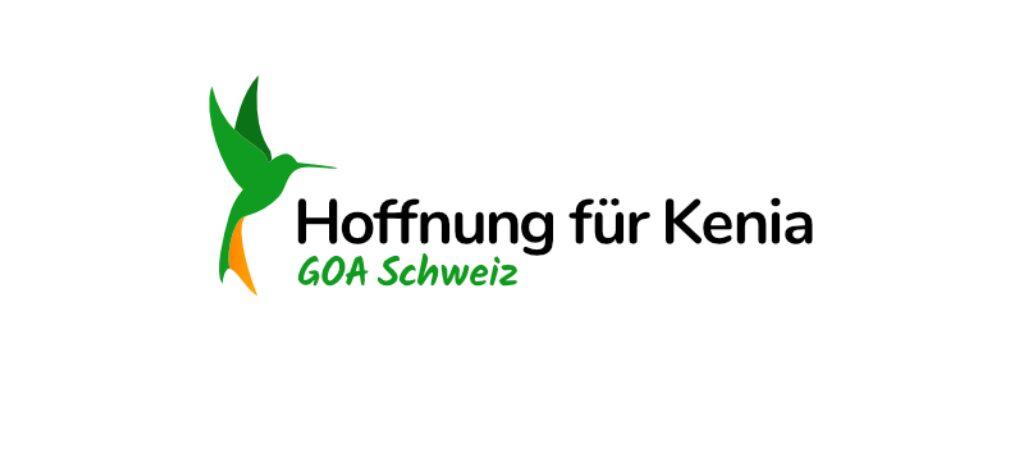 """Grüner Kolibri mit Schriftzug """"Hoffnung für Kenia - GOA Schweiz"""""""