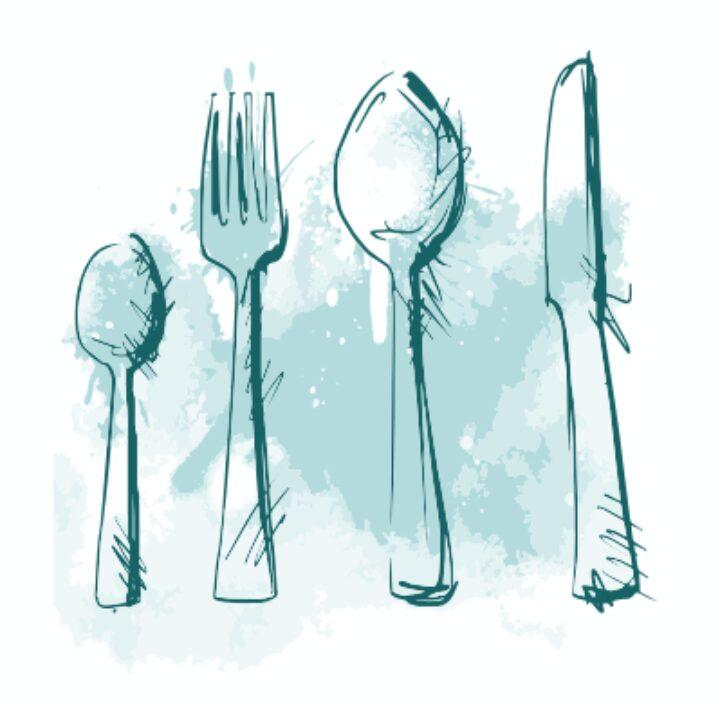 Illustration eines Besteck-Sets mit Löffel, Gabel und Messer.