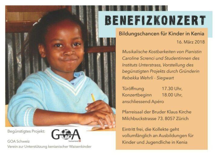 Flyer anlässlich eines Benefizkonzertes